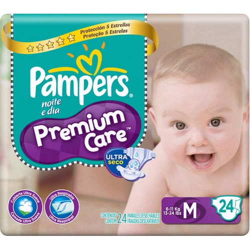Fralda Pampers Premium Care M com 24 un.