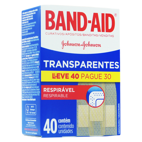 Band Aid Johnson & Johnson transparentes Leve 40 Pague 30 unidades