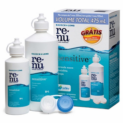 Renu Sensitive Multiuso Kit com 300ml + 120ml + Estojo